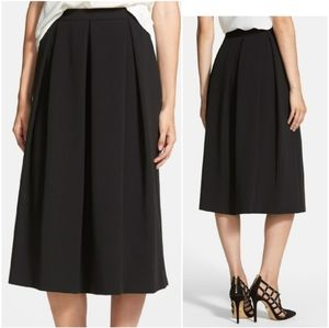 Chelsea28 Deep Fold Midi Black Skirt  Large